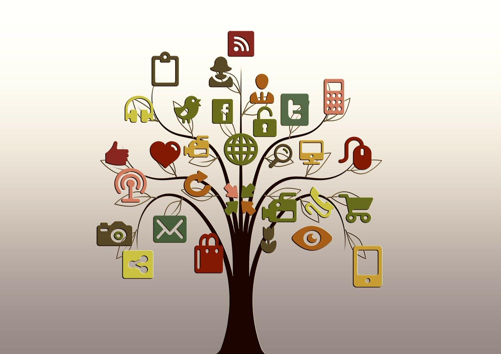 albero con le immagini di diversi elementi della tecnologia