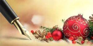 Palle di Natale e penna stilografica