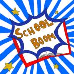 Scritta school boom con stelle