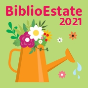 annaffiatoio con fiori e scritta Biblioestate2021