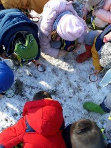 bambini che guardano la brina sul terreno