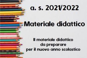 anno scolastico 2021/2022 materiale didattico da preparare per il nuovo anno scolastico